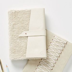 Ivory White Leather Fur Daphne Journal Sketchbook